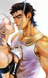 1girl anz black_hair earrings genderswap grey_hair jean_pierre_polnareff jewelry jojo_no_kimyou_na_bouken kuujou_joutarou rapier sword tank_top weapon