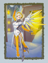 1girl arm_up blonde_hair blue_eyes bodysuit breasts brown_legwear building christmas christmas_tree faulds floating frame full_body full_moon glowing glowing_wings hair_tie high_ponytail highres holding light_smile looking_at_viewer mechanical_halo mechanical_wings medium_breasts mercy_(overwatch) mistletoe moon night night_sky nose one_leg_raised outdoors overwatch parted_lips pelvic_curtain polkin pose sky snow solo spread_wings window wings yellow_wings