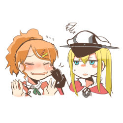 2girls aquila_(kantai_collection) blonde_hair blue_eyes blush cheek_pinching eyes_closed flying_sweatdrops gloves graf_zeppelin_(kantai_collection) hat high_ponytail kantai_collection lowres multiple_girls open_mouth orange_hair pinching rebecca_(keinelove) squiggle
