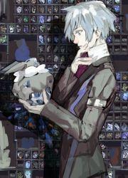 blue_eyes blue_hair carbink formal grey_hair nishihara_isao pokemon pokemon_(game) pokemon_rse silver_hair stone suit tsuwabuki_daigo