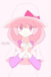 1girl artist_request blue_eyes hat heart-shaped_pupils pink_hair pokemon pokemon_bw2 ribbon ruri_(pokemon) solo