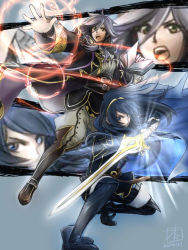 2girls alternate_hairstyle book fighting_pose fire_emblem fire_emblem:_kakusei lucina magic multiple_girls my_unit sword