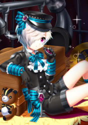 androgynous black_gloves black_joa black_shirt black_shorts bow bowtie character_request elsword facial_mark glint gloves hair_over_one_eye hat highres holding indoors key kneehighs long_sleeves oversized_object peaked_cap phone pink_eyes roman_numerals shirt short_hair shorts sitting solo sparkle stopwatch striped striped_bow striped_bowtie striped_legwear stuffed_animal stuffed_toy teddy_bear watch white_hair
