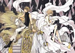 1boy 1girl absurdres barefoot boots broken_glass brown_eyes brown_hair chains clamp dress highres sakura_hime short_hair sitting tsubasa_chronicle white_dress xiaolang