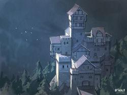 bird bridge building castle no_humans original pine_tree scenery seo_tatsuya tree twitter_username window