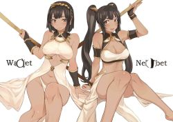2girls arm_support armlet bare_shoulders blush bracer breasts brown_eyes brown_hair cleavage cleavage_cutout collarbone dark_skin egyptian egyptian_mythology erect_nipples fingerless_gloves gloves groin hairband highres large_breasts long_hair looking_at_viewer multiple_girls navel nekhbet original polearm ricci short_hair sitting smile underwear uraeus wadjet weapon white_background