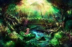 1girl blush bridge cuby_(dondoriansama) dragon dress fantasy forest light_rays nature original river rock scenery sunbeam sundress sunlight tree