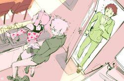 artist_name caught clothed_sex digimon digimon_adventure_tri. doggystyle from_behind hearts ishida_yamato izumi_koushirou kennoarkkan pants_pull ponytail sex sink sketch tachikawa_mimi waist_grab walk-in