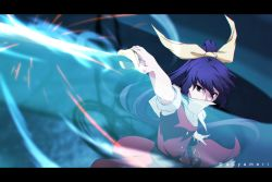 1girl aono_meri belt border covering_mouth dress glowing glowing_weapon gradient_background hair_ornament hair_ribbon katana long_hair looking_at_viewer outstretched_arm ponytail puffy_sleeves purple_hair ribbon short_sleeves solo sword touhou twitter_username watatsuki_no_yorihime weapon
