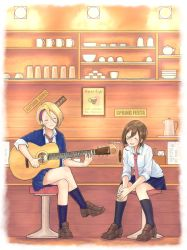 2girls :d acoustic_guitar asymmetrical_bangs bangs black_legwear blazer blonde_hair blue_legwear blue_skirt bowl breasts brown_hair brown_shoes cafe chopsticks closed_mouth collared_shirt cup earrings echizen_murasaki english eyes_closed full_body glass guitar hair_between_eyes head_tilt highres indoors instrument jacket jewelry kneehighs leaning_forward legs_crossed loafers medium_breasts mug multiple_girls music napkin necktie open_mouth own_hands_together playing_instrument pleated_skirt red_necktie sarada_doraivu school_uniform seto_ferb shirt shoes short_hair sign sitting skirt smile stool teapot tokyo_7th_sisters white_shirt wing_collar
