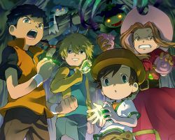 1girl 3boys :d anger_vein angry black_hair blonde_hair brown_hair cabbie_hat clenched_teeth color_connection digimon digimon_adventure digimon_adventure_02 digimon_frontier digimon_tamers digivice dress glowing glowing_eyes grin hat himi_tomoki li_jenrya multiple_boys open_mouth palmon patamon poop raglan_sleeves shaded_face short_hair smile sun_hat t_k_g tachikawa_mimi takaishi_takeru terriermon time_paradox vines you_gonna_get_raped
