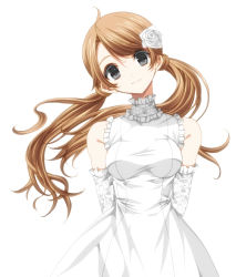 1girl bare_shoulders breasts brown_hair detached_sleeves dress flower grey_eyes hair_flower hair_ornament head_tilt looking_at_viewer misteor original simple_background smile solo twintails white_background white_dress