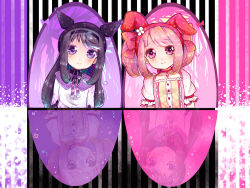 2girls akemi_homura animal_ears animal_hat black_hair bow bunny_ears cat_hat choker fake_animal_ears hair_bow hairband hat head_tilt kaname_madoka long_hair looking_at_viewer magical_girl mahou_shoujo_madoka_magica multiple_girls pink_eyes pink_hair purple_eyes reflection short_hair short_twintails smile twintails