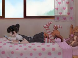 1boy 1girl anilingus bed bedroom bestiality cellphone censored cunnilingus dog henti loli lying on_stomach oral penis phone ponytail poodle short_ponytail skirt skirt_lift striped striped_legwear stuffed_animal thighhighs