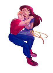 1boy 1girl couple dc_comics hug jeans lasso simple_background steve_trevor wonder_woman wonder_woman_(series)