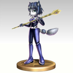 1girl blue_hair bodysuit krystal nintendo simple_background staff star_fox super_smash_bros. trophy