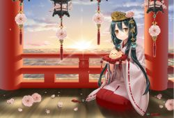 1girl above_clouds bird bird_on_hand black_hair blue_sky cherry_blossoms crown flower hair_ornament japanese_clothes lantern lens_flare licca_(liccas) long_hair looking_at_viewer miko original pillar pillow pointy_ears railing seiza sidelocks sitting sky smile solo sunrise wooden_floor yellow_eyes