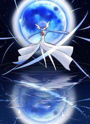 alternate_color blue_hair full_moon gardevoir moon nintendo no_humans orange_eyes pokemon reflection shiny_pokemon short_hair solo water