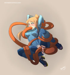 1girl anal_object_insertion artist_name blonde_hair blue_eyes blush crotch_cutout cum cum_in_ass cum_in_pussy double_penetration hair_between_eyes hands_behind_back metroid ponytail restrained samus_aran simple_background sinner!_(sillygirl) tentacle torn_clothes vaginal_object_insertion web_address zero_suit