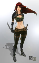 1girl 3li dagger female full_body katarina_du_couteau league_of_legends looking_at_viewer navel red_hair scar shadow solo standing sword weapon