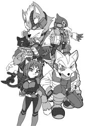 1girl 5boys belt bodysuit eyepatch falco_lombardi fingerless_gloves fox_mccloud headset jacket jewelry krystal leon_powalski monochrome multiple_boys nintendo panther_caroso rose scar scarf short_hair simple_background smile spikes star_fox tail weapon wolf_o'donnell