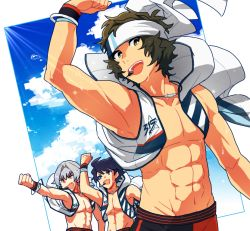 3boys abs adonis_belt alternate_costume arm_up blue_eyes bracelet clenched_hand cloud cloudy_sky enjouji_michiru fang green_hair groin headset idolmaster idolmaster_side-m jacket jewelry kizaki_ren looking_at_viewer male_focus multiple_boys open_clothes open_jacket ponytail shirtless silver_hair sky sweat sweatband taiga_takeru tan the_kogado wen_(panda) wristband yellow_eyes