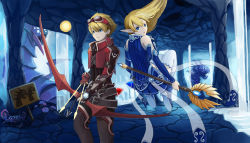 1boy 1girl arrow baron_nashor belt blonde_hair blue_clothes blue_eyes bow_(weapon) cave ezreal gem goggles goggles_on_head highres janna_windforce league_of_legends levitation long_hair pointy_ears potion red_clothes signpost staff tagme water waterfall weapon wing_(wingho)