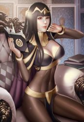 1girl audia_pahlevi black_hair bodystocking breasts cleavage fire_emblem fire_emblem:_kakusei hime_cut looking_at_viewer solo tharja tiara
