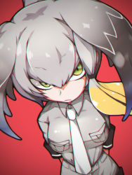 1girl arms_behind_back bangs belt bird blush breast_pocket breasts eyebrows_visible_through_hair green_eyes grey_hair grey_shirt head_wings kemono_friends long_hair looking_at_viewer low_ponytail makina00 multicolored_hair necktie pocket ponytail shirt shoebill shoebill_(kemono_friends) short_sleeves shorts simple_background solo