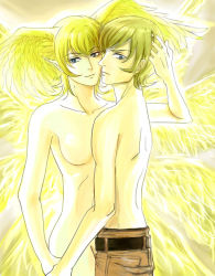 2boys androgynous angel_wings asuka_ryou back bare_back bare_shoulders belt blonde_hair blue_eyes breasts collarbone demon devilman dual_persona gradient_background hand_holding head_wings hug incipient_kiss looking_at_viewer looking_back looking_down male_focus multiple_boys multiple_persona multiple_wings neck nude pants satan_(devilman) sekiya_(akaya2580) selfcest shirtless short_hair smile standing time_paradox wings yaoi