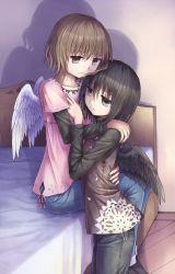 2girls bed black_hair black_wings brown_eyes brown_hair denim feathered_wings hug indoors jeans multiple_girls short_hair white_wings wings yuri yuyuzuki_(yume_usagi)