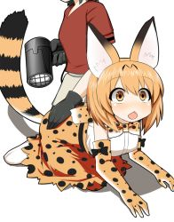 2girls all_fours animal_ears animal_print bare_shoulders black_gloves black_hair blonde_hair blush boots bow bowtie chestnut_mouth elbow_gloves gloves hair_dryer hand_on_another's_ass head_out_of_frame kaban kemono_friends looking_away multiple_girls open_mouth parody red_shirt serval_(kemono_friends) serval_ears serval_tail shirt short_hair simple_background skirt sleeveless solo sudo_shinren t-shirt tail white_background white_shirt yellow_eyes