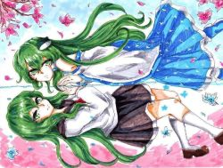 1girl 2girls aluleilan detached_sleeves dual_persona frog green_eyes green_hair hair_ornament japanese_clothes kochiya_sanae long_hair long_sleeves looking_at_viewer marker_(medium) miko multiple_girls neckerchief open_mouth reflection school_uniform serafuku smile snake touhou traditional_media water