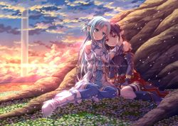 2girls asuna_(sao) blue_eyes blue_hair breastplate detached_sleeves fingerless_gloves gloves hairband hug lens_flare long_hair multiple_girls pointy_ears purple_hair red_eyes sunset sword_art_online thighhighs tree uehara_yukihiko yuuki_(sao)