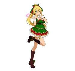 1girl blonde_hair boots breasts brown_boots christmas cleavage dress frilled_dress frills green_eyes hair_ornament heart highres leafa long_hair looking_at_viewer official_art one_eye_closed ponytail simple_background solo sword_art_online sword_art_online:_code_register white_background