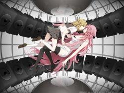 blonde_hair dress green_eyes kagamine_rin long_hair megurine_luka pink_hair vocaloid yuri