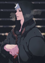1boy black_sclera blood chocolate_sable grey_hair hoodie jojo_no_kimyou_na_bouken metal red_eyes risotto_nero solo