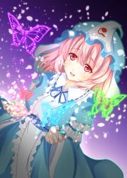 1girl butterfly frills hat japanese_clothes kimono merukiarisu mob_cap open_mouth pink_eyes pink_hair saigyouji_yuyuko solo touhou triangular_headpiece veil