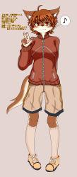 artist_request brown_eyes brown_hair dog furry japanese_text tounge translation_reuqest v_sign