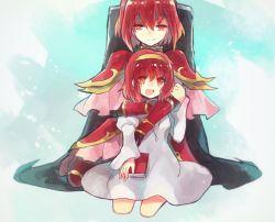 2girls armor book cape fire_emblem fire_emblem:_monshou_no_nazo fire_emblem:_shin_ankoku_ryuu_to_hikari_no_tsurugi hair_ornament hug hug_from_behind kneeling looking_at_viewer maria_(fire_emblem) minerva_(fire_emblem) multiple_girls nunuko_(mu661129) pauldrons red_hair siblings sisters skirt smile