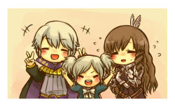 1boy 2girls artist_request blush brown_hair chibi cynthia_(fire_emblem) eyes_closed family father_and_daughter fire_emblem fire_emblem:_kakusei henry_(fire_emblem) husband_and_wife mother_and_daughter multiple_girls silver_hair sumia twintails