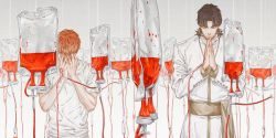 2boys bangs black_hair blood blood_bag cassock chazy covered_face covering_face emiya_shirou eyes_closed facing_viewer fate_(series) fingernails gradient gradient_background grey_background hands_on_own_face highres intravenous_drip kotomine_kirei long_sleeves male_focus multiple_boys orange_hair own_hands_together parted_bangs praying sash shirt short_sleeves t-shirt tape transparent upper_body white_shirt