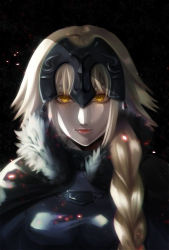 1girl black_background blonde_hair braid cape embers fate/grand_order fate_(series) fur_trim glowing glowing_eyes headpiece highres jeanne_alter lipstick long_hair looking_at_viewer makeup ruler_(fate/apocrypha) solo sugita_(merinib) yellow_eyes