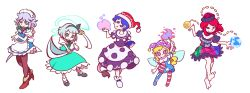 5girls american_flag american_flag_legwear american_flag_shirt apron ascot barefoot black_legwear black_shirt blonde_hair blue_eyes blue_hair bow braid chains clothes_writing clownpiece collar doremy_sweet dream_soul dress earth earth_(ornament) fairy fairy_wings frilled_shirt_collar frills gold_chain green_bow green_skirt green_vest grin hair_bow hair_ribbon hairband hat hecatia_lapislazuli highres holding holding_weapon izayoi_sakuya jester_cap katana knife konpaku_youmu konpaku_youmu_(ghost) layered_dress leggings long_hair maid maid_apron maid_headdress mary_janes mismatched_legwear moon_(ornament) multicolored_skirt multiple_girls nightcap off-shoulder_shirt open_mouth pantyhose parody pink_eyes plaid plaid_skirt polka_dot polos_crown pom_pom_(clothes) pop'n_music print_legwear puffy_short_sleeves puffy_sleeves red_eyes red_hair ribbon shirt shoes short_hair short_sleeves silver_hair skirt skirt_set smile star star_print style_parody sword t-shirt tail tapir_tail torch touhou twin_braids vest wakizashi weapon white_background white_shirt wings yutarou