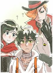 1girl 2boys bandage black_corset black_gloves blouse freckles gloves green_eyes hair_over_one_eye hat jacket looking_at_another looking_at_viewer multiple_boys orange_hair oscar_(rwby) red_cloak roman_torchwick roosterteeth ruby_rose rwby shirt silver_eyes white_blouse white_jacket white_shirt yellow_eyes