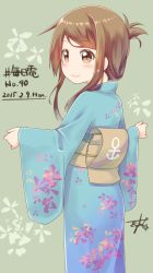 1girl brown_eyes brown_hair folded_ponytail from_behind gurande_(g-size) highres inazuma_(kantai_collection) japanese_clothes kantai_collection kimono long_hair yukata