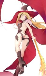 1girl armpits ass bare_back bikini blonde_hair boots butt_crack cape eyepatch from_behind green_eyes hat high_heels highleg highleg_bikini highleg_swimsuit long_hair looking_at_viewer looking_back nanao_(mahaya) othinus parted_lips polearm skindentation solo spear swimsuit to_aru_majutsu_no_index to_aru_majutsu_no_index:_new_testament weapon witch_hat