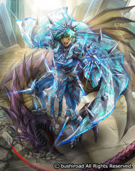 1boy aqua_hair armor armored_boots boots cardfight!!_vanguard company_name dark_skin dark_skinned_male dragon full_body gloves male_focus moreshan official_art open_mouth provocation_seeker_blumental solo teeth wings yellow_eyes
