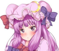 1girl :/ bangs blue_bow blunt_bangs blush bow bowtie closed_mouth crescent frills hat hat_bow long_hair looking_at_viewer mob_cap portrait purple_eyes purple_hair red_bow red_bowtie sidelocks solo touhou white_background wildcat_(kusonemi)