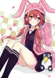 1girl :3 absurdres animal_hood berukko black_legwear black_shirt black_skirt blush bunny bunny_hair_ornament crescent crescent_hair_ornament failure_penguin fur_trim hair_between_eyes hair_ornament highres hood hooded_jacket jacket kantai_collection kneehighs long_hair long_sleeves looking_to_the_side low_twintails neck_ribbon panties pantyshot pantyshot_(sitting) pink_panties red_eyes red_hair red_ribbon ribbon sailor_collar shirt sitting skirt twintails underwear uzuki_(kantai_collection) very_long_hair |_|